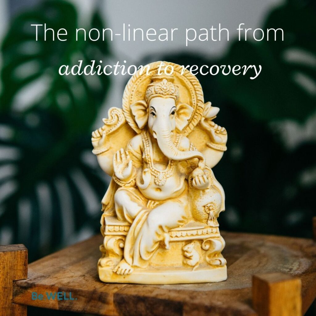 "Statue to convey healing during the recovery from substance abuse. Image reads, ""The non-linear path from addiction to recovery."""
