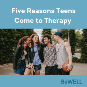 "Image of happy teens after they sought therapy help after they found themselves aligned with some of the reasons teens come to therapy found on this list. Image reads ""Five reasons Teens come to therapy."""
