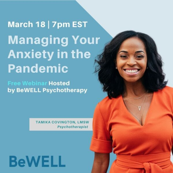 """Promo image for March wellness event. Image reads """"Managing your anxiety in the pandemic"""""""