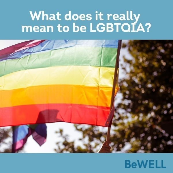 """Image of a pride flag flying to show support for the LGBTQIA community. Image reads """"What does it really mean to be LGBTQIA"""""""