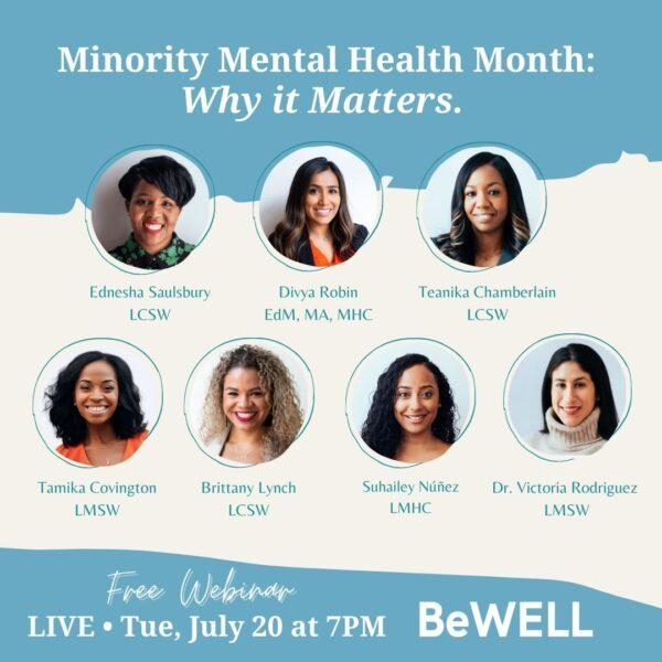 "Image of Minority Mental Health Month advocates. Image reads ""Minority Mental Health: Why it Matters"""