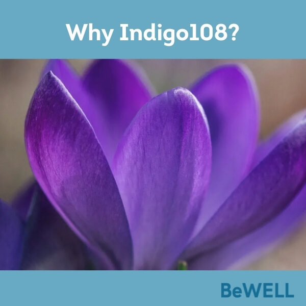 """Promotional image for our blog introducing BeWELL's new wellness initiative, Indigo108. Image reads """"Why Indigo108"""""""