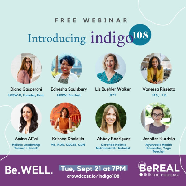 """Promo image for the BeWELL event introducing our new wellness initiative, Indigo108. Image reads """"Free Webinar - Introducing Indigo108"""""""